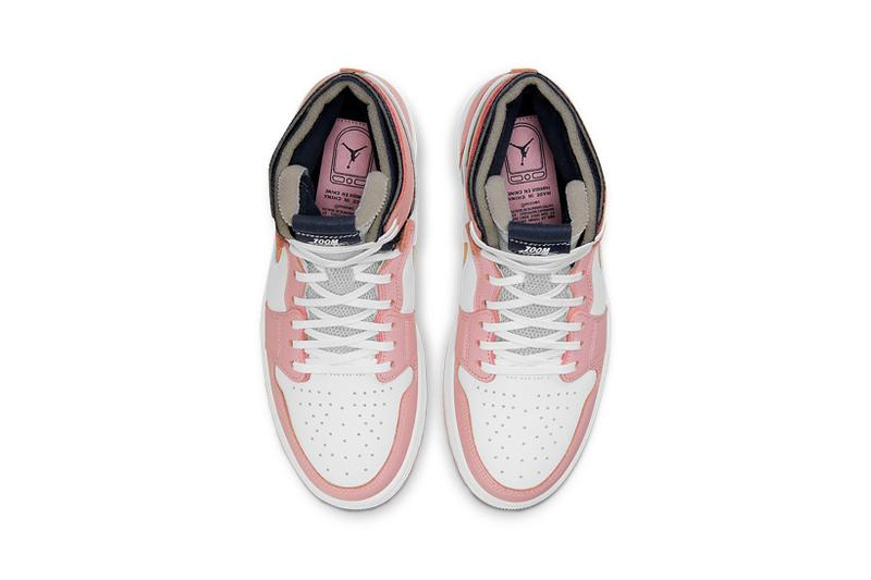 nike air jordan 1 high zoom cmft sneakers pink glaze black orange white colorway shoes footwear sneakerhead insole
