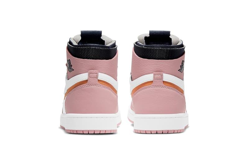 nike air jordan 1 high zoom cmft sneakers pink glaze black orange white colorway shoes footwear sneakerhead heel