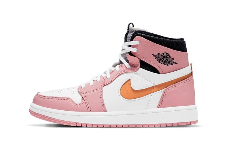 nike air jordan 1 high zoom cmft sneakers pink glaze black orange white colorway shoes footwear sneakerhead lateral laces
