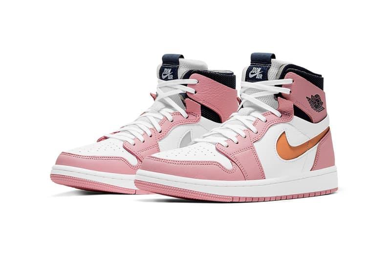nike air jordan 1 high zoom cmft sneakers pink glaze black orange white colorway shoes footwear sneakerhead laces