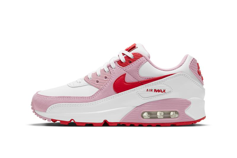 nike air max 90 am90 valentines day sneakers pink red swoosh laterals