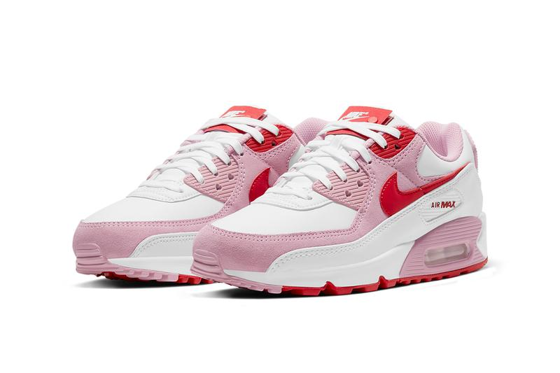 nike air max 90 am90 valentines day sneakers pink red swoosh front laterals air unit