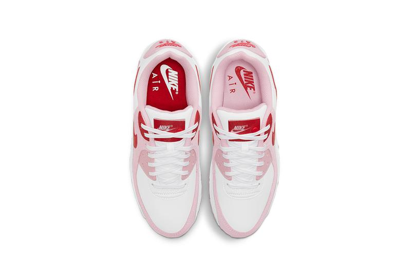 nike air max 90 am90 valentines day sneakers pink red top view shoelaces footbed insoles