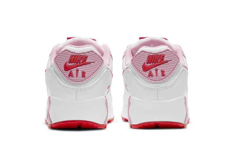 nike air max 90 am90 valentines day sneakers pink red heel back tab logo