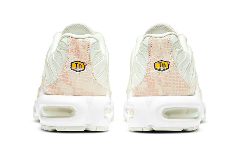 nike air max plus sneakers pink snakeskin print white colorway sneakerhead footwear shoes heel
