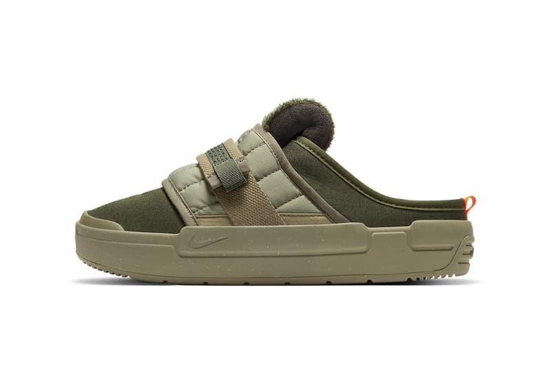 nike offline mules sandals slippers army olive green orange colorway footwear lateral