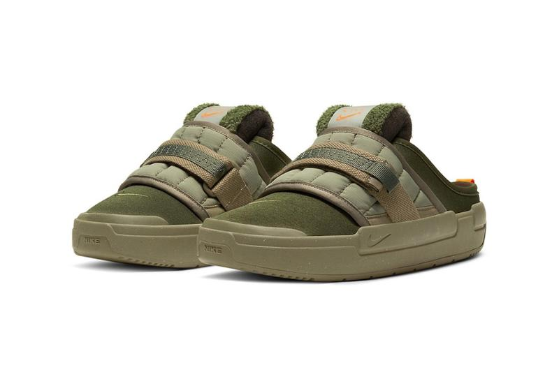 nike offline mules sandals slippers army olive green orange colorway footwear lateral front view