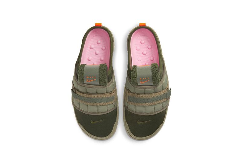 nike offline mules sandals slippers army olive green orange colorway footwear aerial birds eye view pink insoles