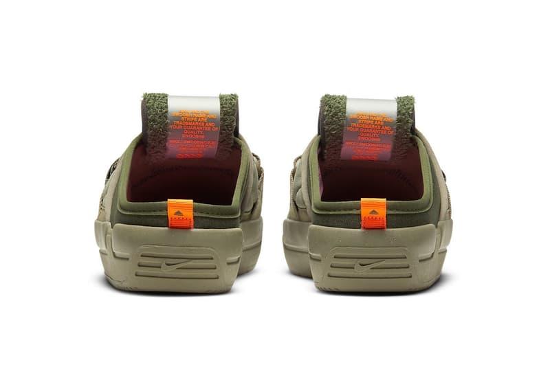 nike offline mules sandals slippers army olive green orange colorway footwear heel