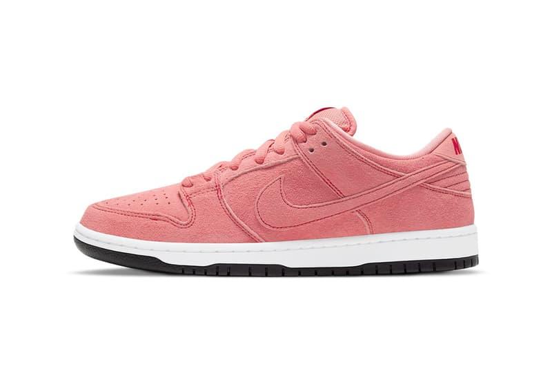 nike sb dunk low sneakers pink pig white black colorway sneakerhead footwear kicks shoes lateral