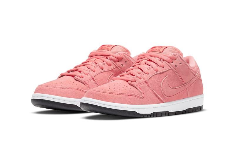 nike sb dunk low sneakers pink pig white black colorway sneakerhead footwear kicks shoes lateral laces