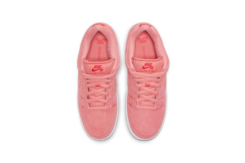 nike sb dunk low sneakers pink pig white black colorway sneakerhead footwear kicks shoes aerial view birds eye insole