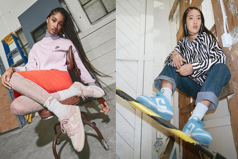 nike sportswear spring dunk low collection sneakers pastel pink blue white jeans skirt sweater chair hair clips accessories