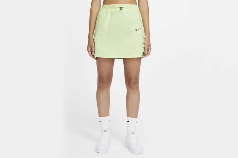 nike sportswear swoosh logo skirt barely volt spring summer outfit white socks sneakers