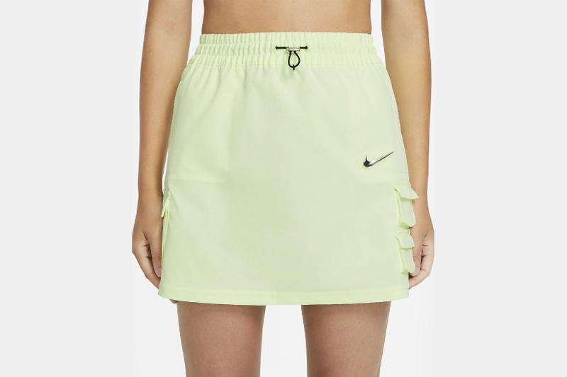 nike sportswear swoosh logo skirt barely volt spring summer outfit closeup