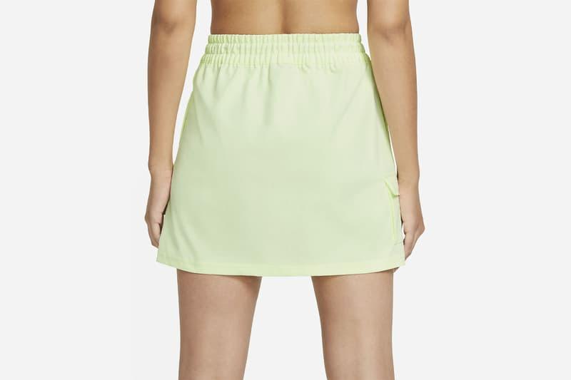 nike sportswear swoosh logo skirt barely volt spring summer outfit back closeup details