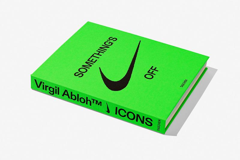 virgil abloh nike icons book retrospective collaboration taschen off-white neon green details something's off