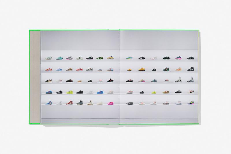 virgil abloh nike icons book retrospective collaboration taschen off-white neon green sneak peek pages sneakers