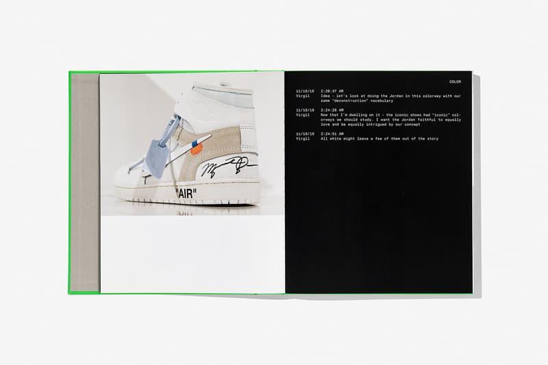 virgil abloh nike icons book retrospective collaboration taschen off-white neon green sneak peek pages