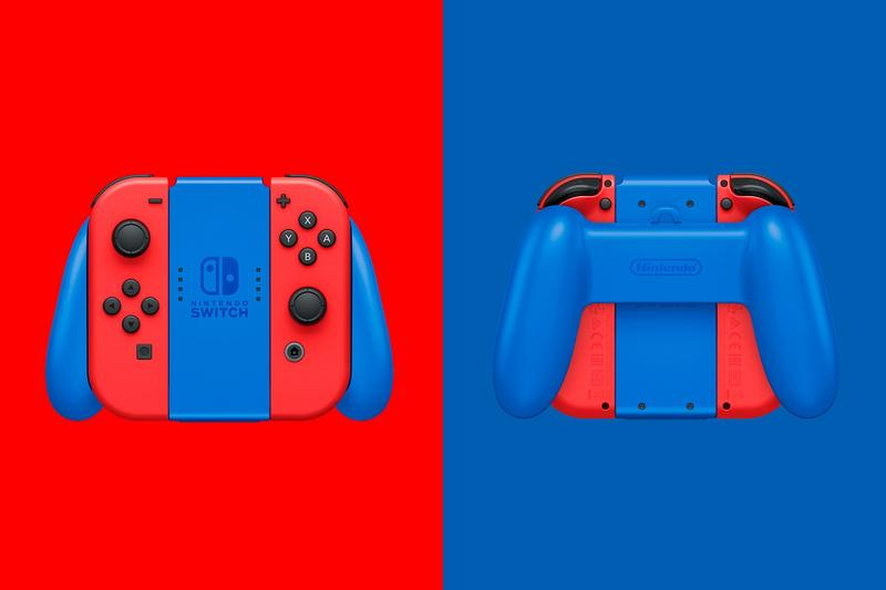 nintendo switch super mario bros red blue 35th anniversary joy cons closeup details