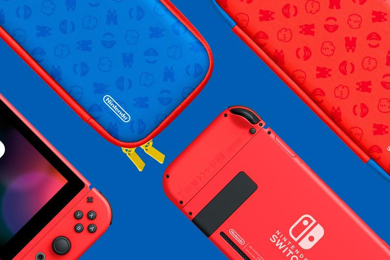 nintendo switch super mario bros red blue 35th anniversary case gaming console front back