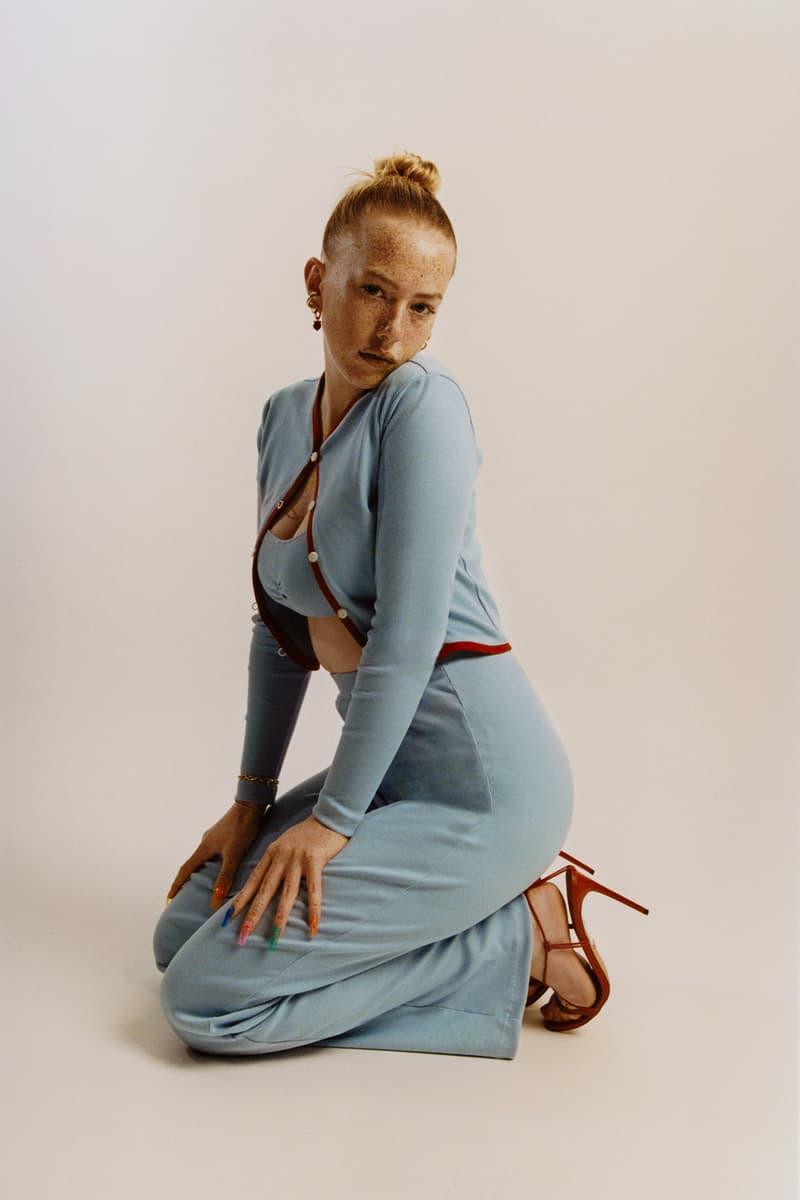 Peachy Den Loungewear London UK Indie Womenswear Fashion Brand Lilliana set Cardigan Top Bottoms Trousers Pants '70s Model Bluebell Blue Red