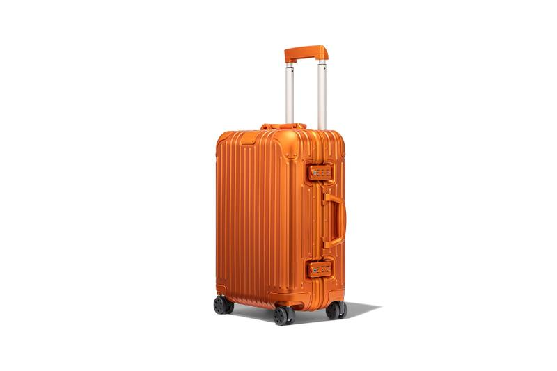 rimowa aluminium original collection new colorways mars orange cabin suitcase luggage handle side view