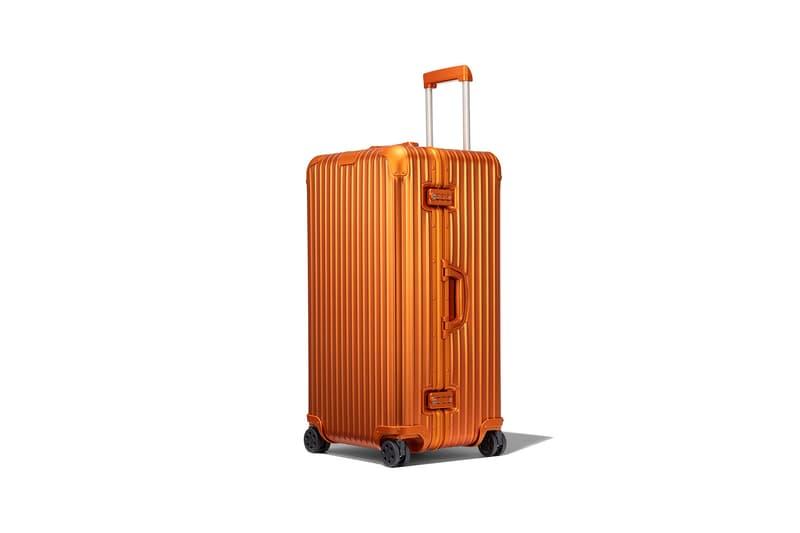 rimowa aluminium original collection new colorways mars orange trunk plus suitcase luggage handle side view