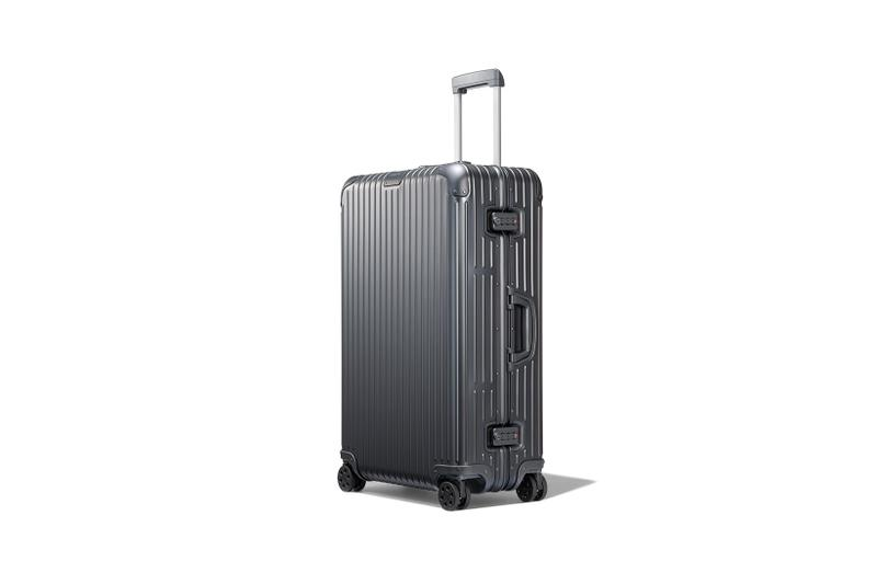 rimowa aluminium original collection new colorways mercury gray trunk plus suitcase luggage handle side view