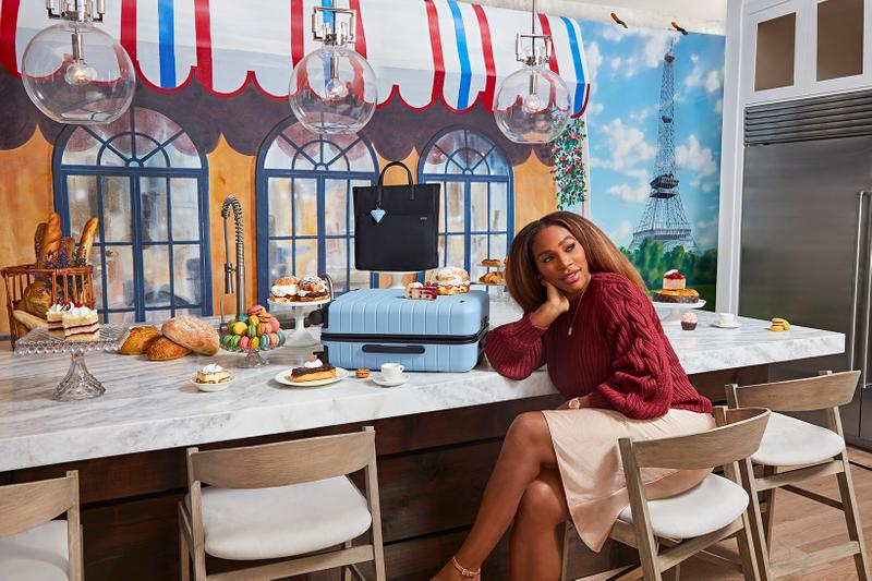 serena williams away suitcases bags accessories collaboration blue chair table paris pastries treats bread desserts sweater skirt