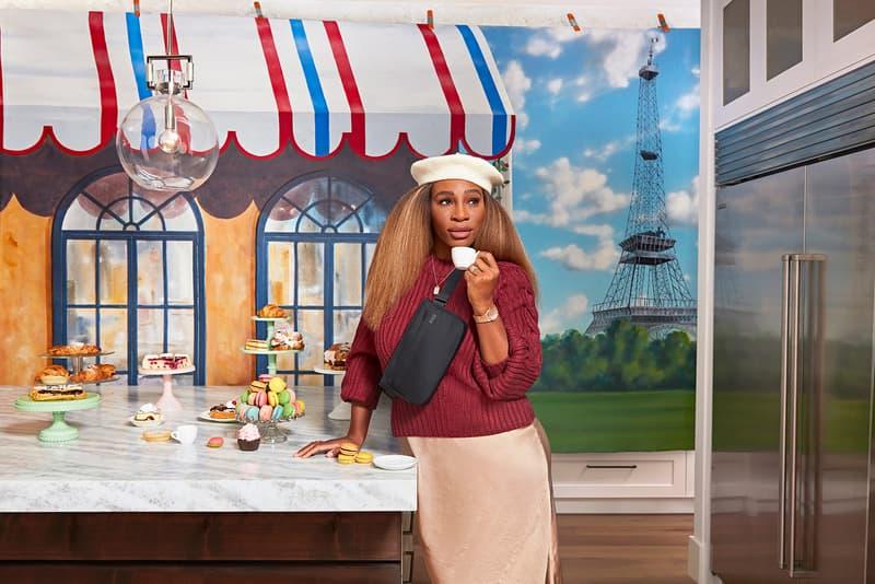 serena williams away suitcases accessories collaboration hat sweater skirt belt bag tea table pastries dessert paris