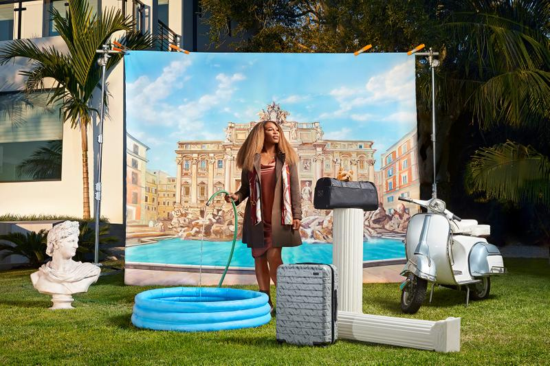 serena williams away suitcases bags accessories collaboration gray black jacket scarf dress water hose scooter