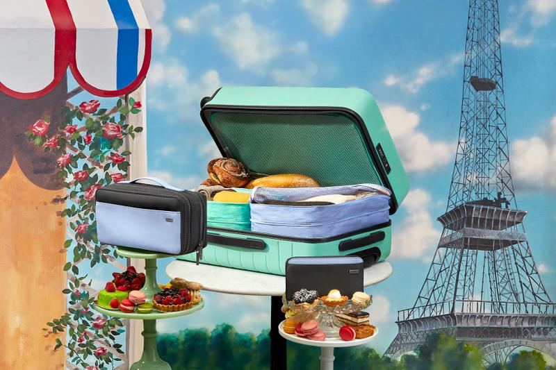 serena williams away suitcases bags accessories collaboration inside open pastries bread treats paris