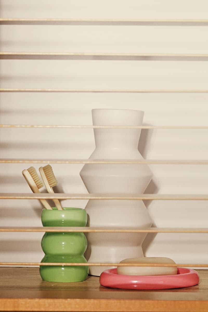 sleeper home homeware decor collection ceramic jar toothbrush holder soap dish green white pink