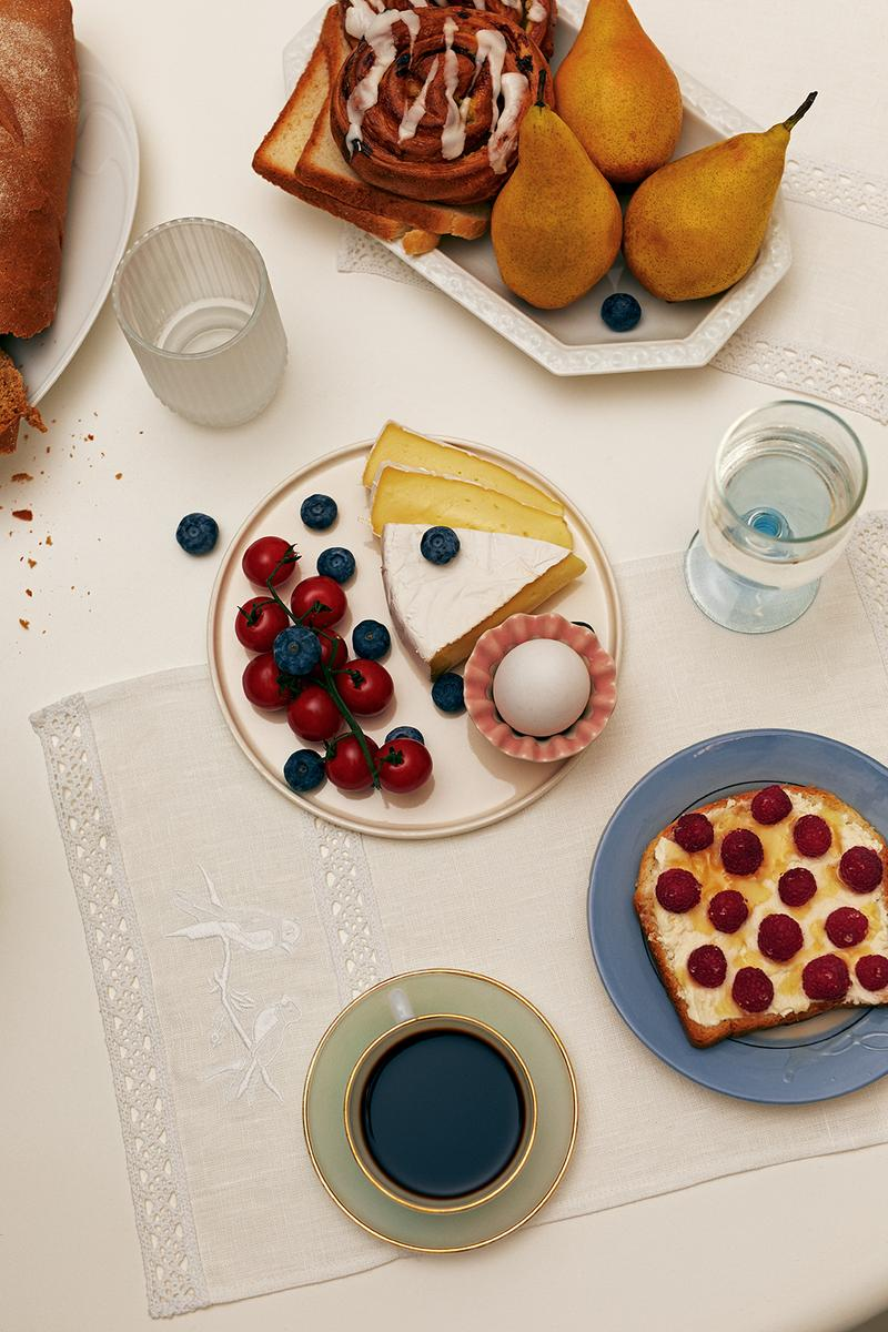 sleeper home homeware decor collection food toast cheese tomatoes glass pear cinnamon roll cloth white