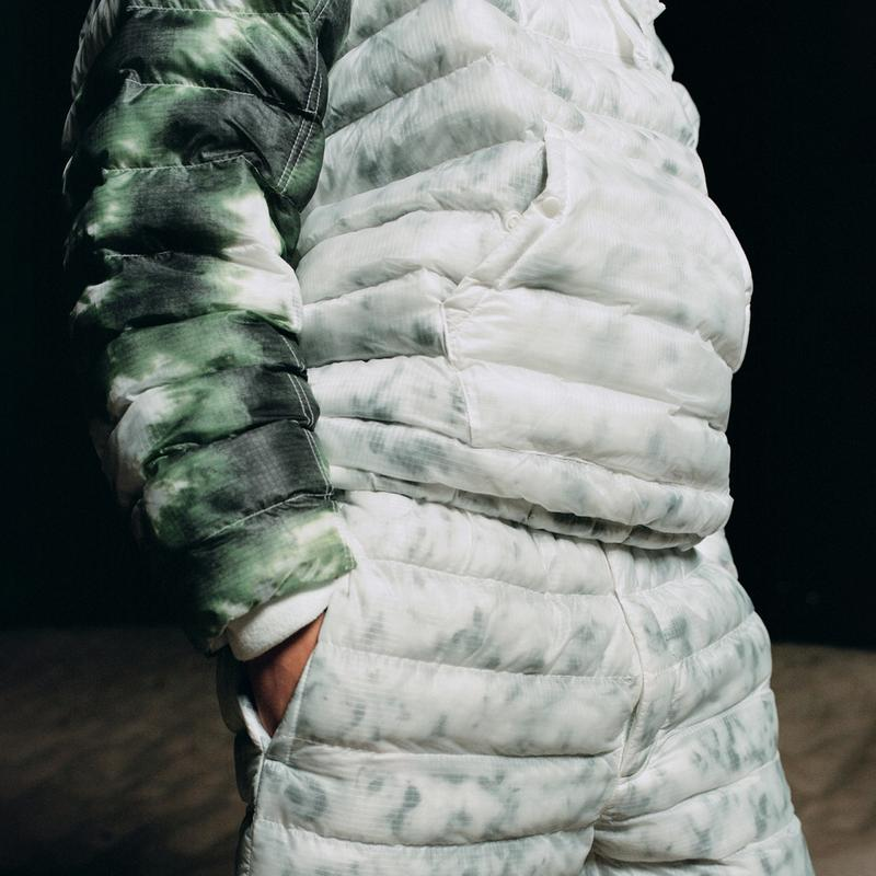 stussy nike apparel collaboration puffer upcycled hand-dyed sweater pants puffer