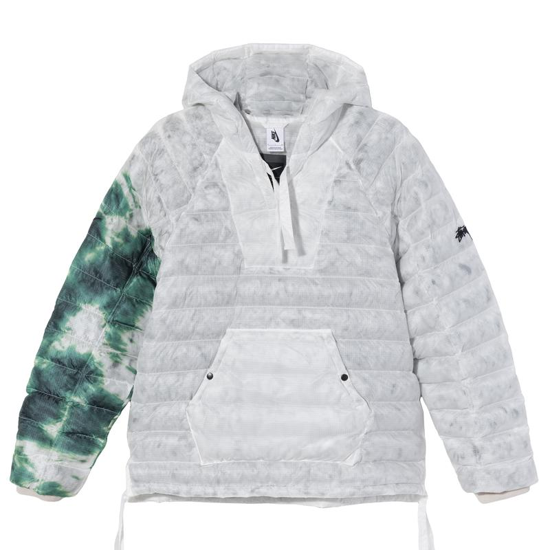 stussy nike apparel collaboration puffer upcycled hand-dyed sweater pants puffer details front sleeves