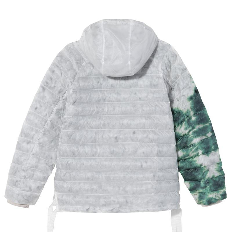 stussy nike apparel collaboration puffer upcycled hand-dyed sweater pants puffer details back hoodie