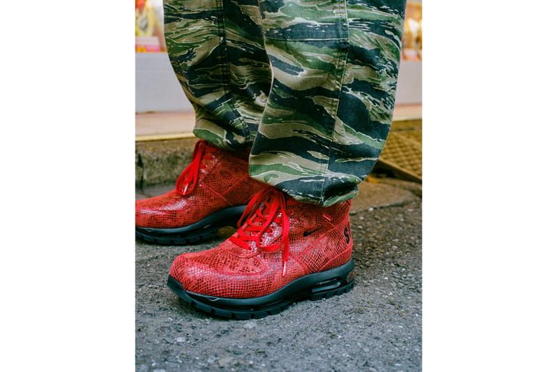 supreme nike goadome collaboration boots footwear shoes snakeskin red colorway camo plants laces