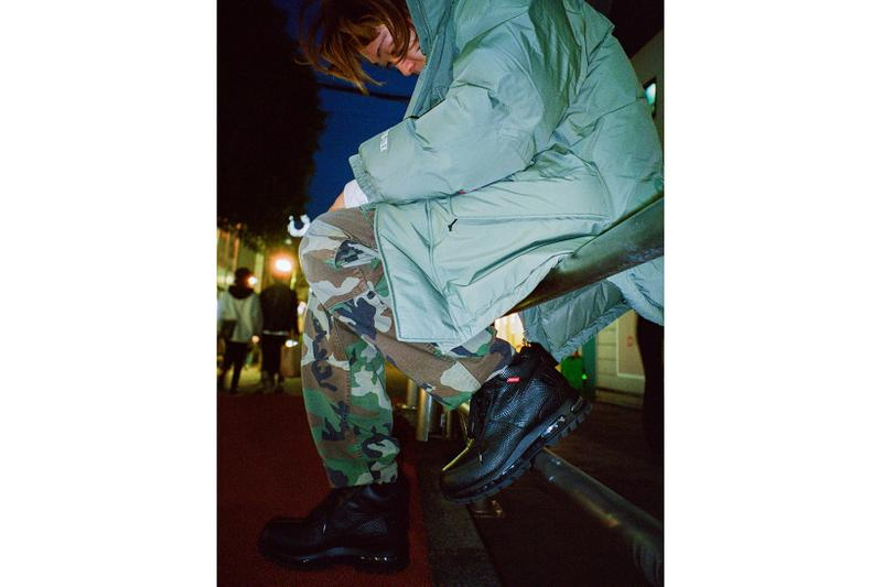 supreme nike goadome collaboration boots footwear shoes snakeskin black colorway camo pants olive green jacket outerwear
