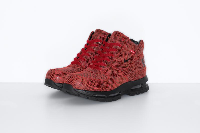 supreme nike goadome collaboration boots footwear shoes snakeskin red colorway black lateral laces