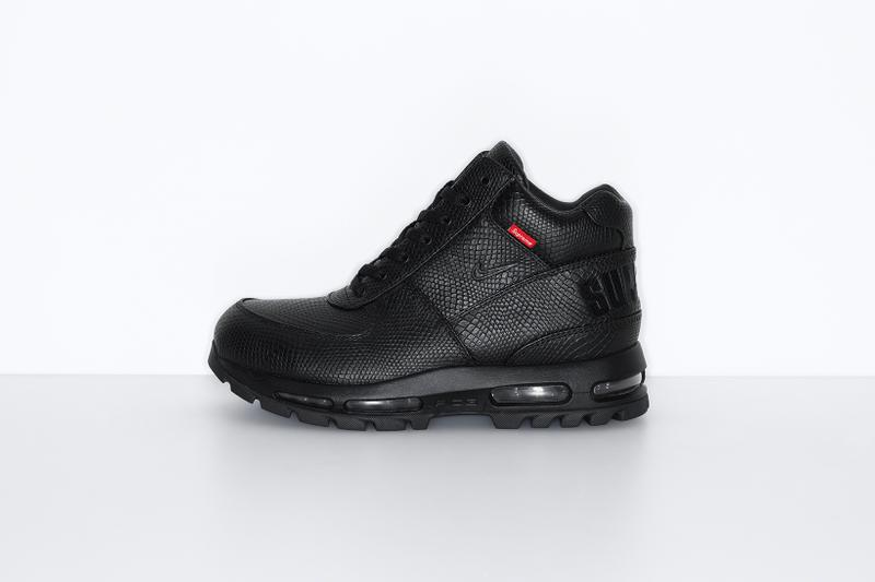 supreme nike goadome collaboration boots footwear shoes snakeskin colorway black red laces lateral