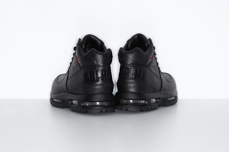 supreme nike goadome collaboration boots footwear shoes snakeskin colorway black heel
