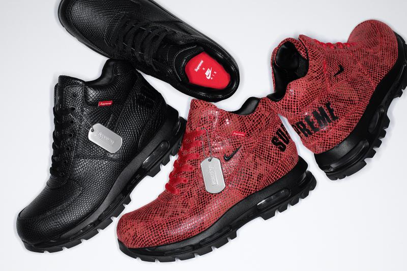 supreme nike goadome collaboration boots footwear shoes snakeskin red black colorway insole laces silver dog tag
