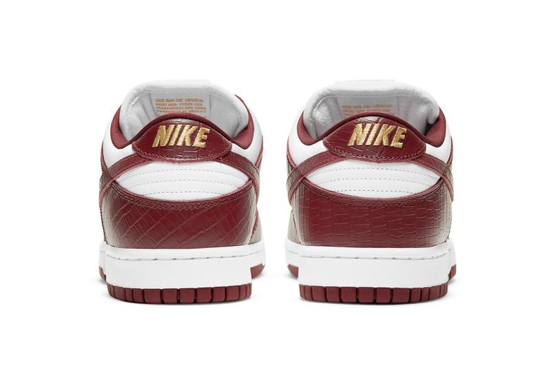 supreme nike sb dunk low collaboration sneakers barkroot brown burgundy red white gold heel