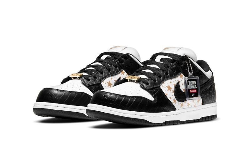 supreme nike sb dunk low collaboration sneakers black white colorway gold stars laces logos tag