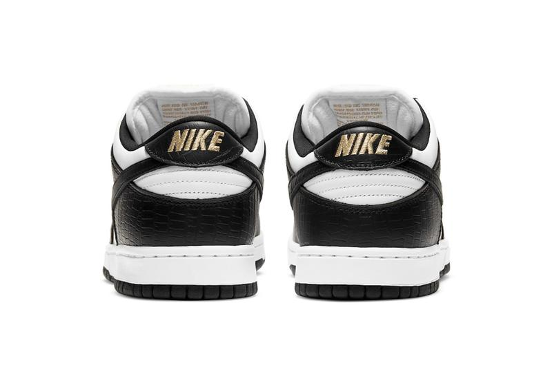 supreme nike sb dunk low collaboration sneakers black white colorway gold heel