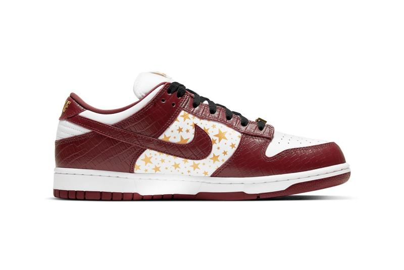 supreme nike sb dunk low collaboration sneakers barkroot brown burgundy red white gold stars lateral black laces