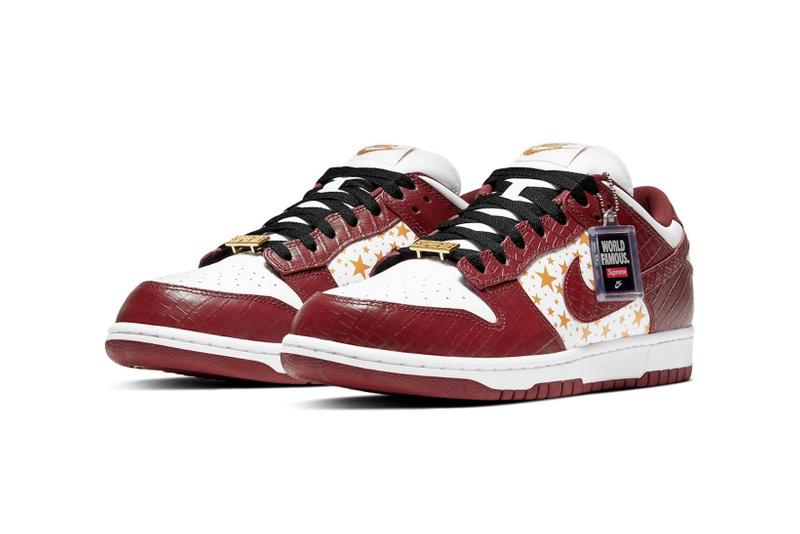 supreme nike sb dunk low collaboration sneakers barkroot brown burgundy red white gold logo stars lateral black laces