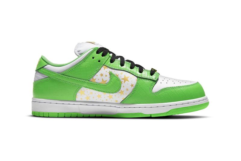 supreme nike sb dunk low collaboration sneakers mean green white black stars colorway sneakerhead shoes footwear lateral